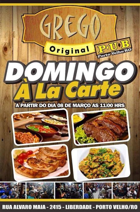 Domingo a La Carte com pratos variados no Grego Original Pub.