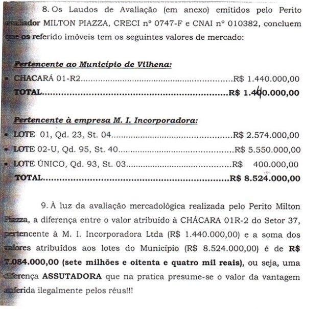 Resultado da avaliação dos imóveis pelo perito, Milton Piazza, evidenciam diferença superior a R$ 7 milhões.