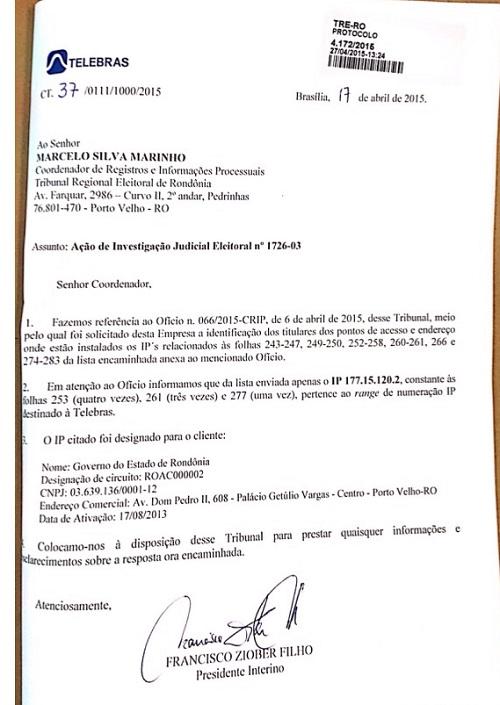 Documento enviado pela Telebrás ao TRE confirma uso de computadores do Estado para atacar adversários de campanha