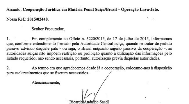 Documentos enviados pela Suiça à Lava-Jato são legais e não vão anular operação