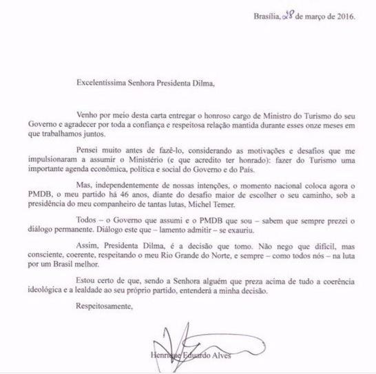 Carta de exoneração de Henrique Alves