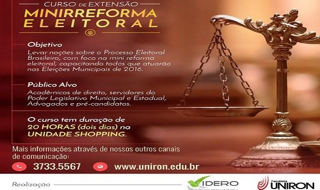 Uniron promove curso de extensão sobre Minirreforma Eleitoral