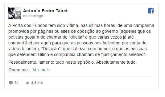 Resposta de Antônio Tabet no Facebook