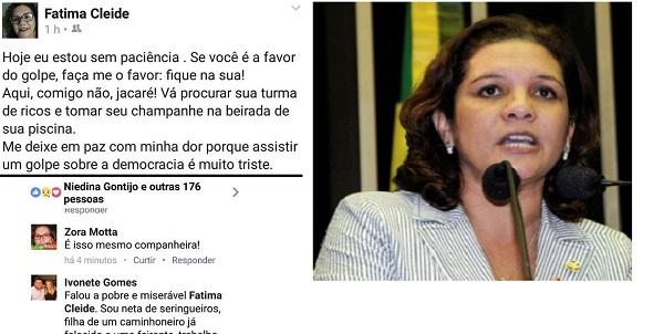 """Ex-senadora Fátima Cleide (PT) manda os """"a favor do golpe"""" irem tomar champanhe"""" e é rebatida por jornalista"""