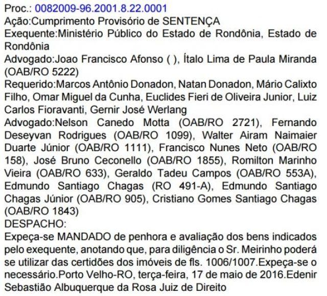 Mandado de penhora foi publicado no Diário da Justiça