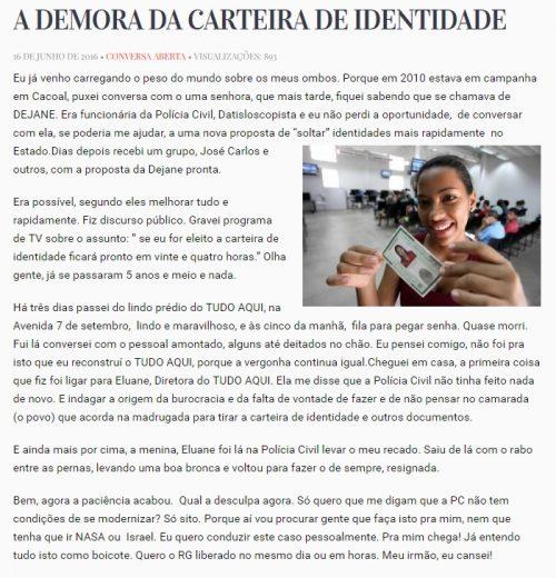Postagem no blog do governador de Rondônia, Confúcio Moura
