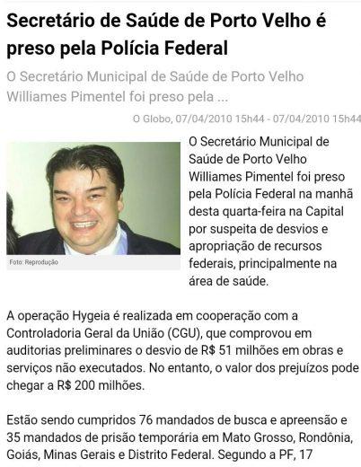 Print da notícia sobre a prisão de Pimentel