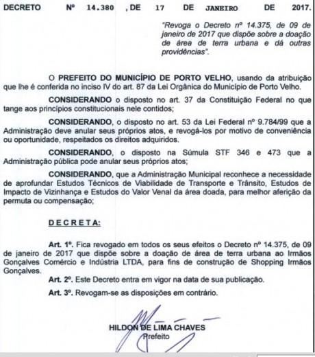 Prefeito anula doação de área para supermercado em Porto Velho