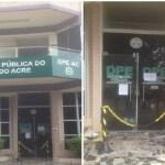 Após ataque de bandidos, atendimento na Defensoria Pública do Acre é suspenso