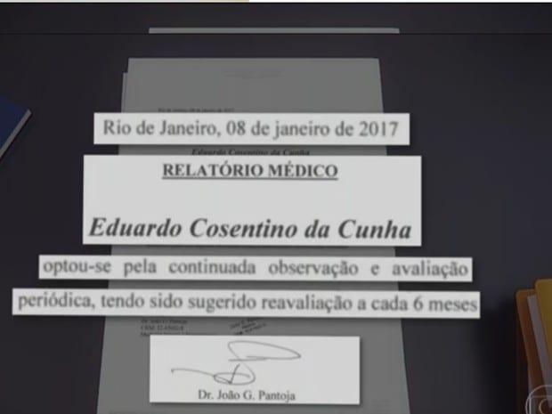 Relatório médico sugereiu reavaliação a cada seis meses (Foto: Reprodução/Jornal Nacional)