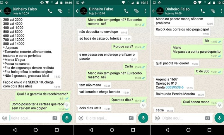 Conversa com vendedor de notas falsas (Foto: Reprodução/WhatsApp)