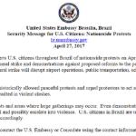 Embaixada dos EUA alerta americanos sobre greve geral de amanhã no Brasil