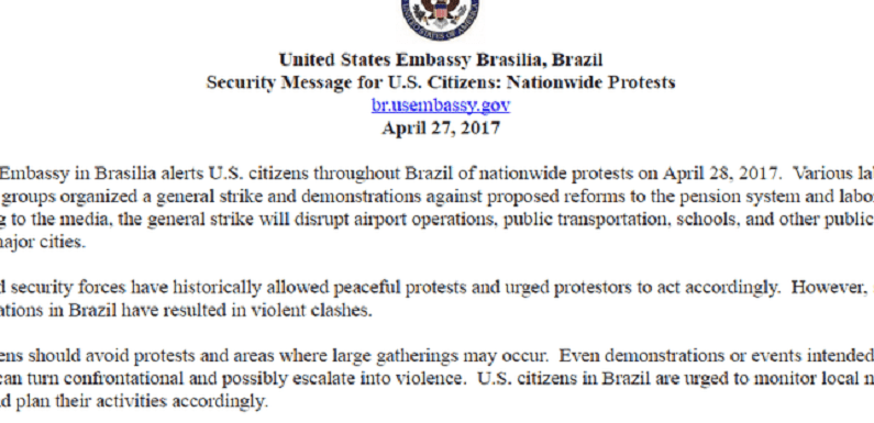 Embaixada dos EUA alerta americanos sobre greve geral de amanhã