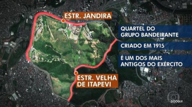 Quartel fica entre as estradas Jandira e Velha de Itapevi, na região metropolitana de SP (Foto: Reprodução/TVGlobo)