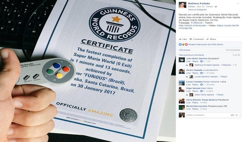 Brasileiro entra para o Guinness após terminar 'Super Mario World' em 1 minuto; veja