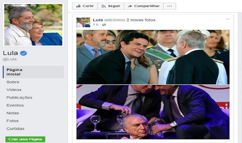 Lula publica fotos de Moro com Aécio e Temer
