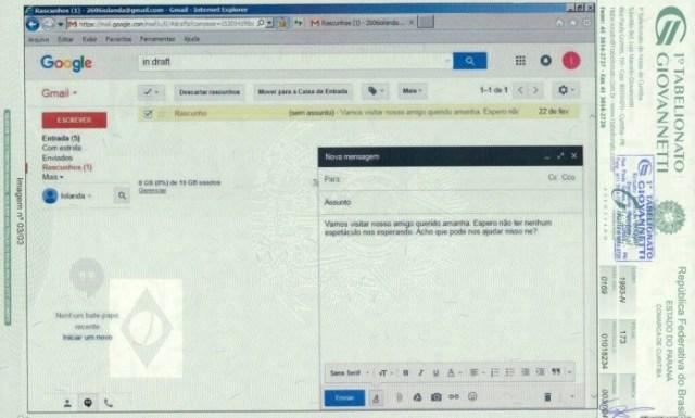 Email 2606iolanda@gmail.com, atribuído a ex-presidente Dilma Rousseff - Reprodução