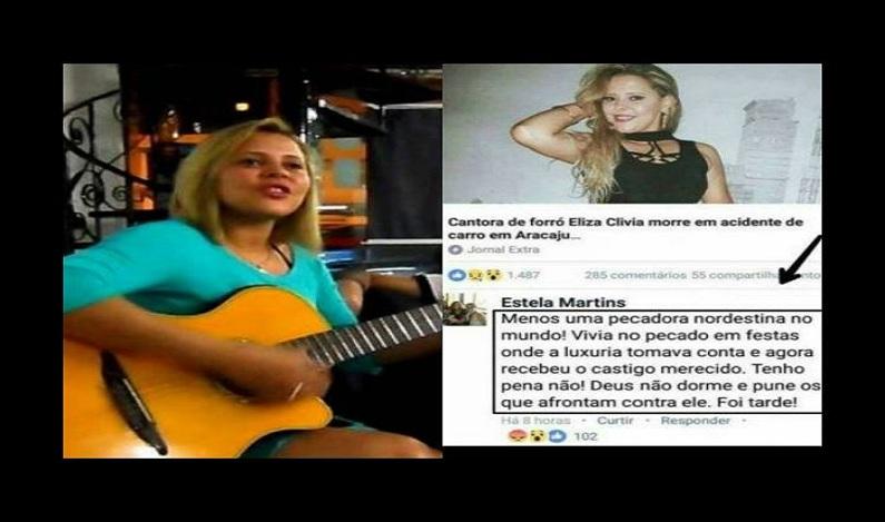 """""""Menos uma pecadora nordestina no mundo"""", diz internauta sobre morte de cantora de forró"""