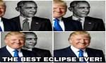 Trump compartilha meme em que ele aparece 'eclipsando' Obama
