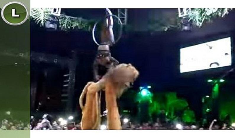 Dançarina despenca de cerca de 5 metros durante apresentação no Baile do Havaí em Cacoal (RO); vídeo