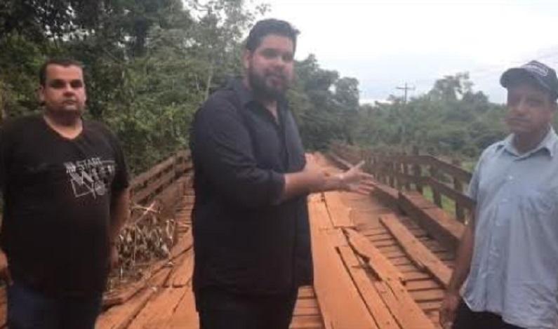 Jean Oliveira cobra urgência recuperação da ponte no Rio Branco na RO 370