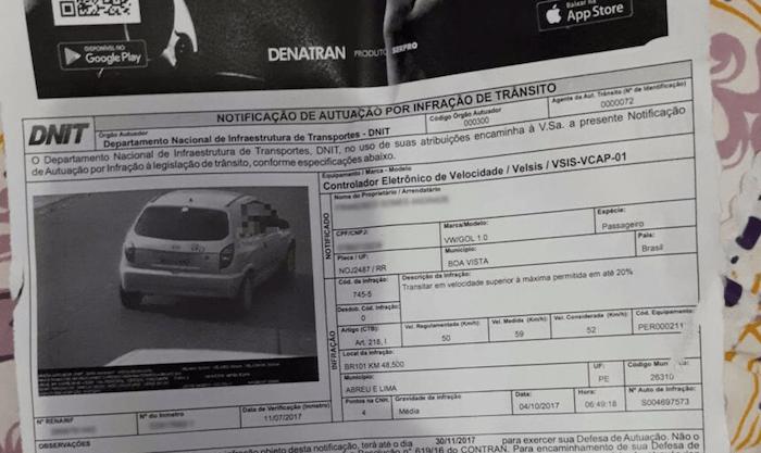 Motorista de Roraima recebe multa com foto de veículo em Pernambuco