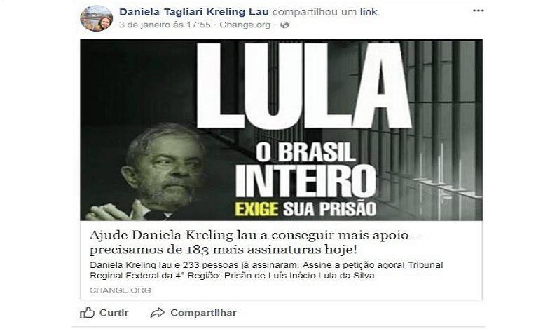 Assessora do TRF 4 pede prisão de Lula no Facebook e políticos questionam isenção da Corte