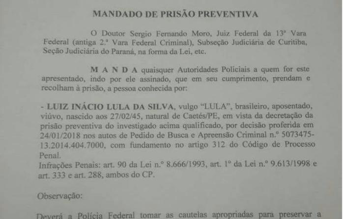 Mandado de prisão contra Lula que circula nas redes sociais é falso