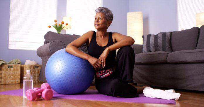 senior woman ready to do yoga