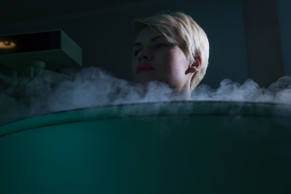 woman in cryo chamber