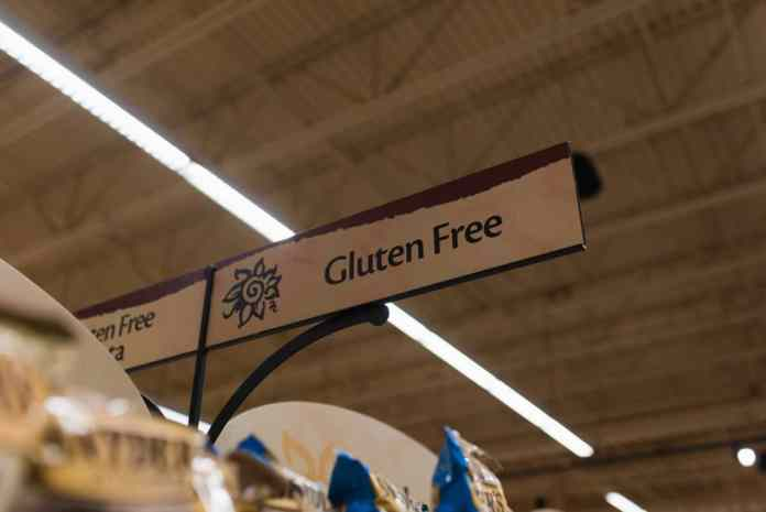abdominal pain and bloat gluten free sign in the grocery store