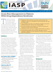 Acute Pain Management in Patients With Drug Dependence Syndrome 1