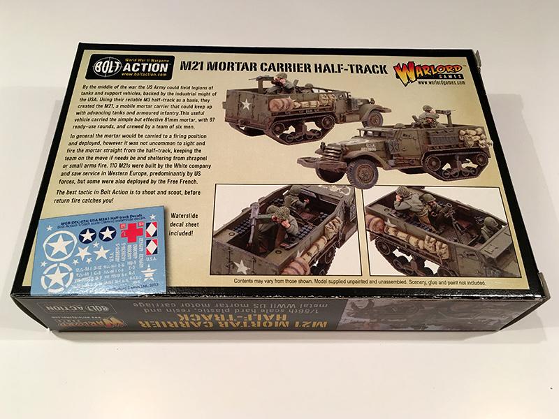 Bolt Action M21 Mortar Half Track - Rear of Box