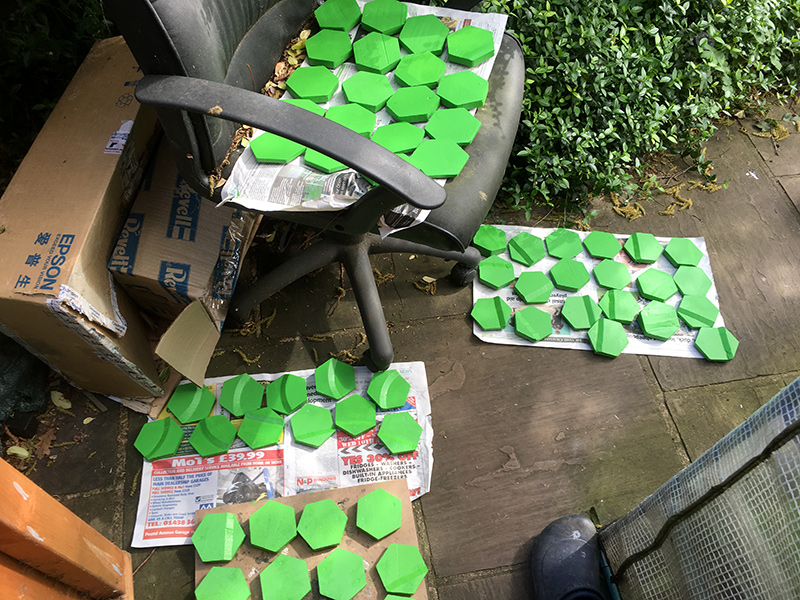 Two coats of green are required