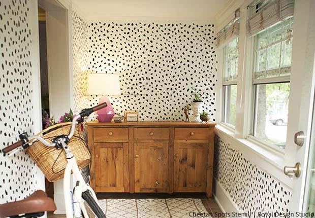 Before Amp After Stencil A Happy Mud Room Paint Pattern