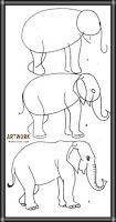 رسومات اطفال سهلة بالخطوات فيل