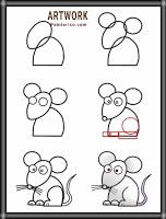 رسم فأر بسيط وسهل للأطفال