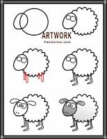 طريقة رسم خروف للاطفال بالصور