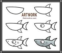 تعليم الرسم للاطفال خطوة خطوة سمكة