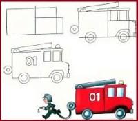 رسم سيارة الدفاع المدني الإطفاء