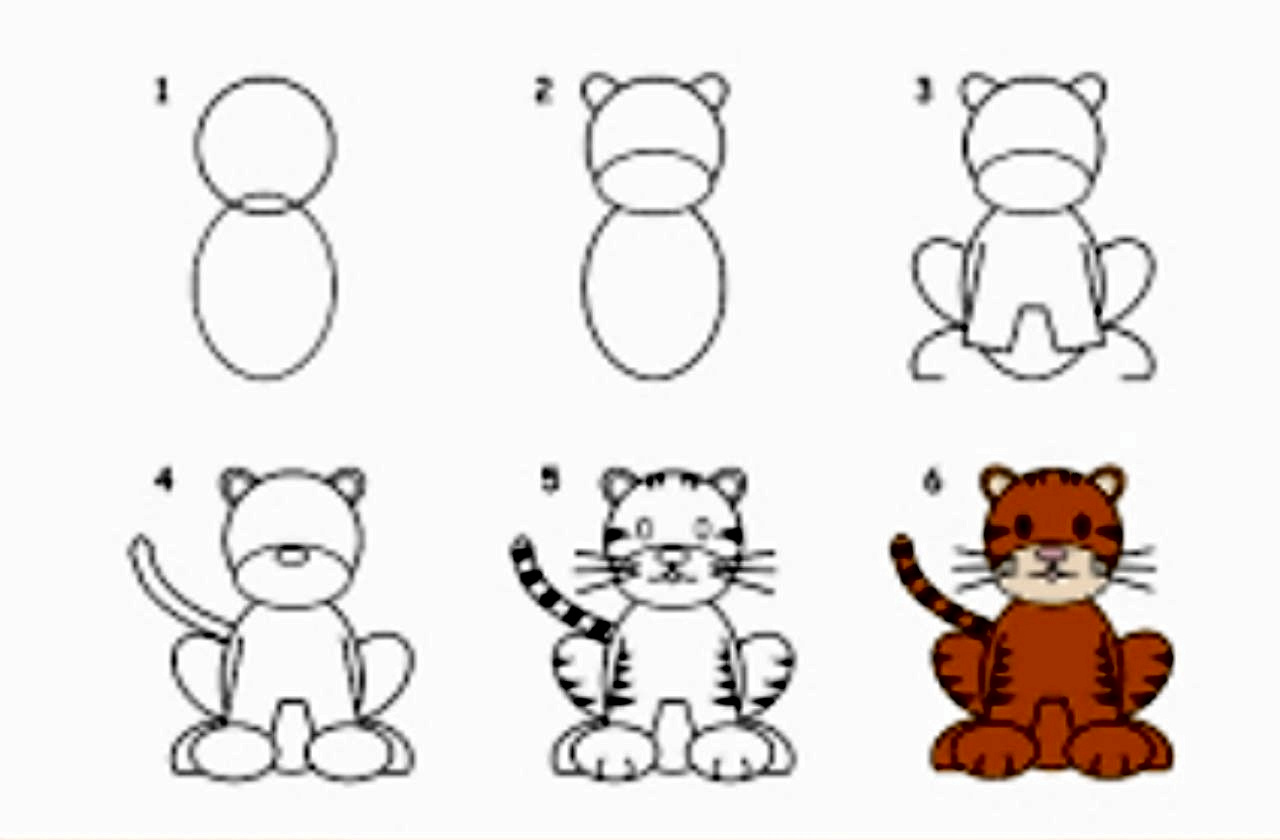 تعليم الرسم للاطفال بالصور والخطوات رسم حيوان النمر بطريقة سهلة
