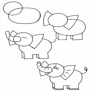 رسم سهل للاطفال الصغار - رسومات فيل للمبتئدين