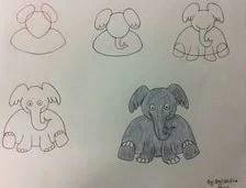 رسومات فيل سهلة بالرصاص