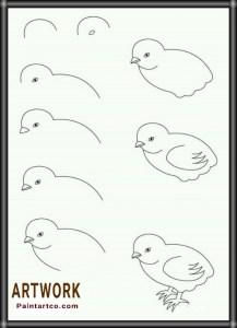 رسم بالرصاص كتكوت سهل جدا