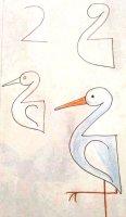 رسم أبو قردان للأطفال الصغار