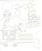 تعليم الاطفال تلوين الغيوم والشمس والمنازل والسيارة