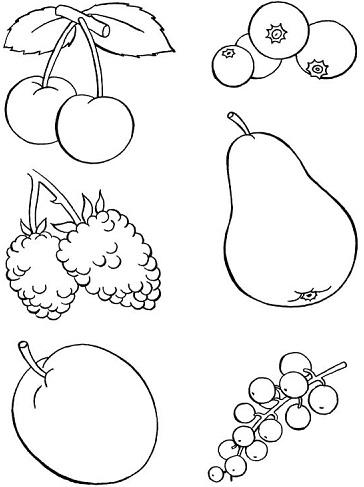 رسم سلة فواكه وخضروات للتلوين