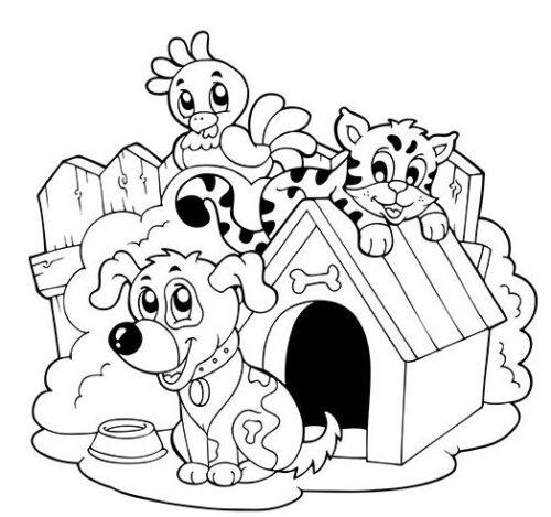 تلوين رسمات كرتونية غير ملونة ومفرغة للأطفال الصغار