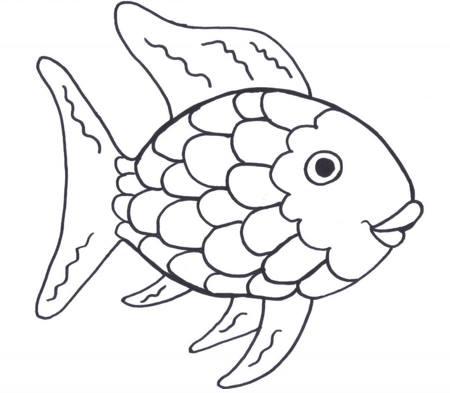 رسومات أطفال كيوت سهلة مفرغة تلوين سمكة