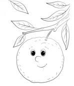 رسمات فاكهة غير ملونة ثمرة برتقال